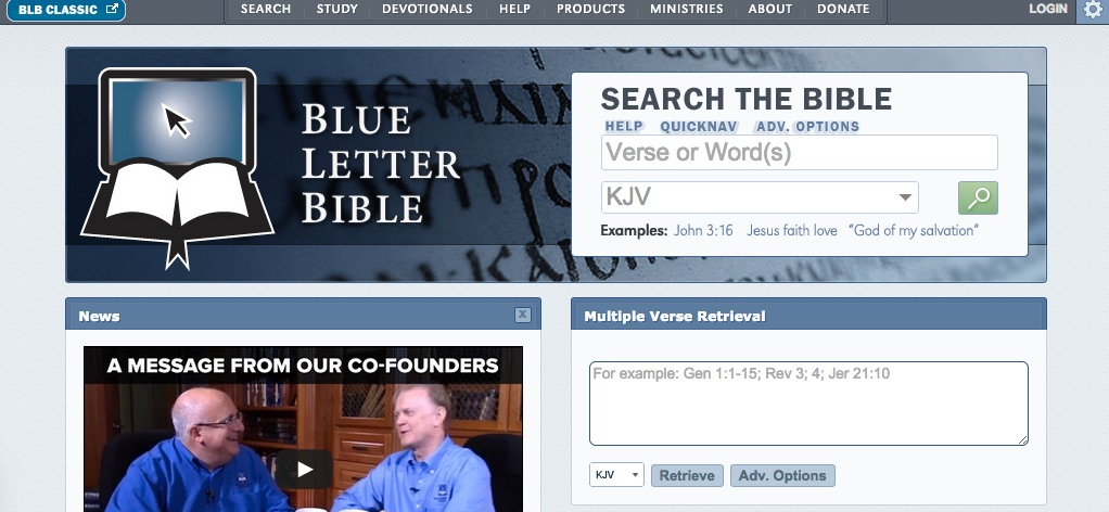 screenshot of the blue letter dictionary