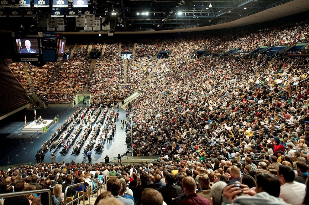 Men's priesthood meeting at the Marriott Center BYU