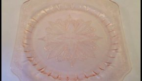 square pink glass dinner plate