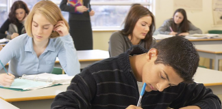 Student taking a final test