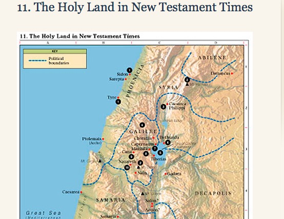 Map of the Holy Land During New Testament Times