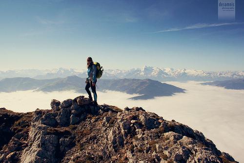 Summiting a mountain in Austria
