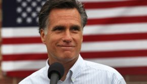 Mitt Romney in front of American Flag