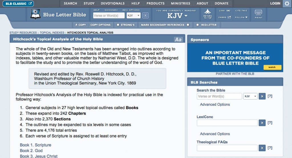 Bible study topical analysis website