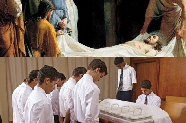 Symbolism between Christ's burial and the sacrament table