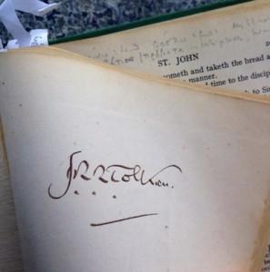 J.R.R Tolkien's Bible. Image via Reid Moon.