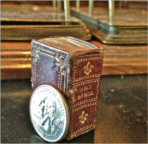 "The rare ""Thumb"" Bible that belonged to Joseph Smith. Image via Reid Moon."