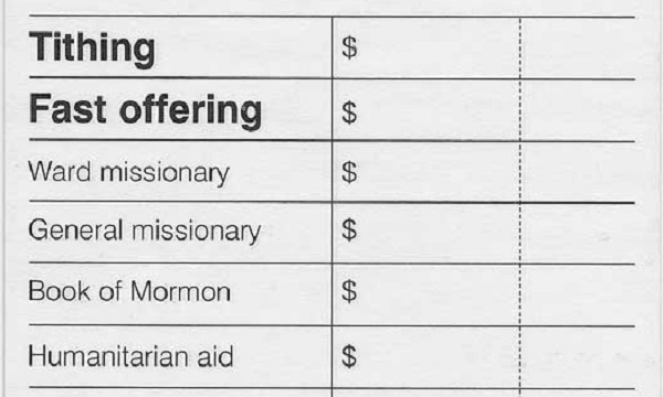 An LDS Tithing and Humanitarian Aid donation slip