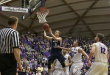 Tyler Haws making a layup against Portland