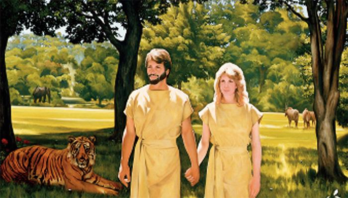 Bearded Adam walking with Eve
