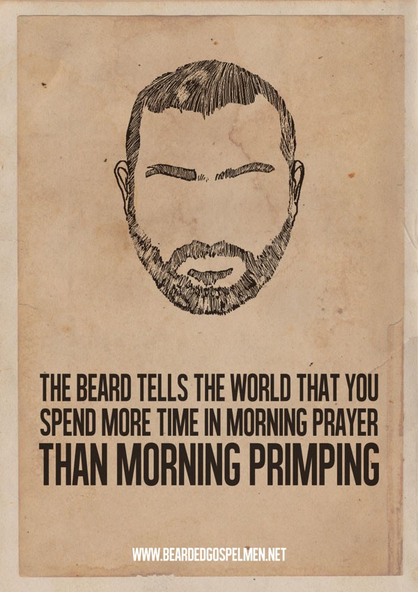 Meme representing the connection between beards and prayer