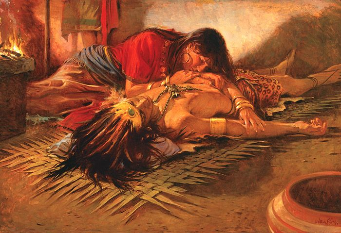 Painting depicting unconscious King Lamoni overcome by the spirit