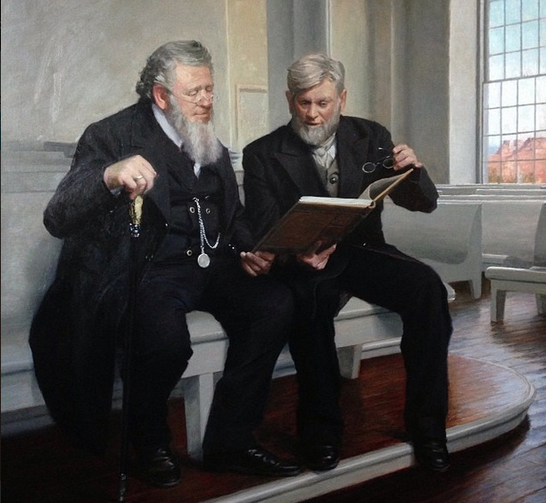 Childs' painting of Brigham Young and Wilford Woodruff featured in the St. George Temple.