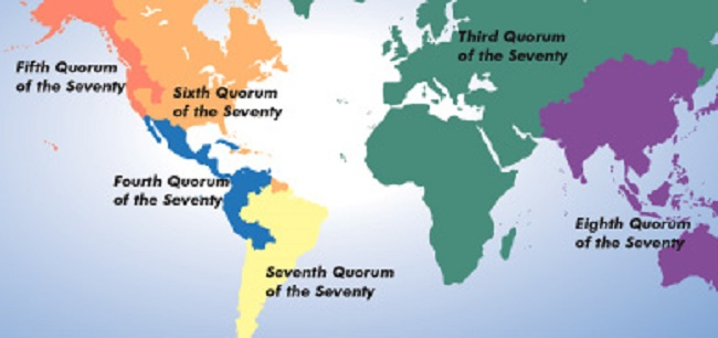 Geographical map of Quorum of the Seventy areas