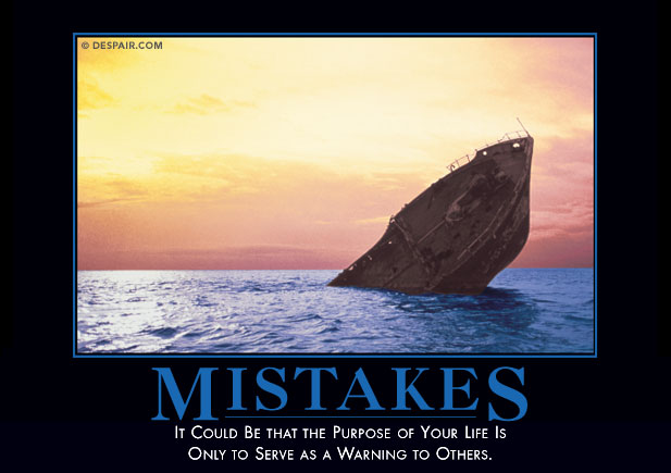 mistakes poster with sinking ship