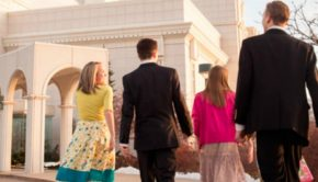 Family walking up to the LDS temple.