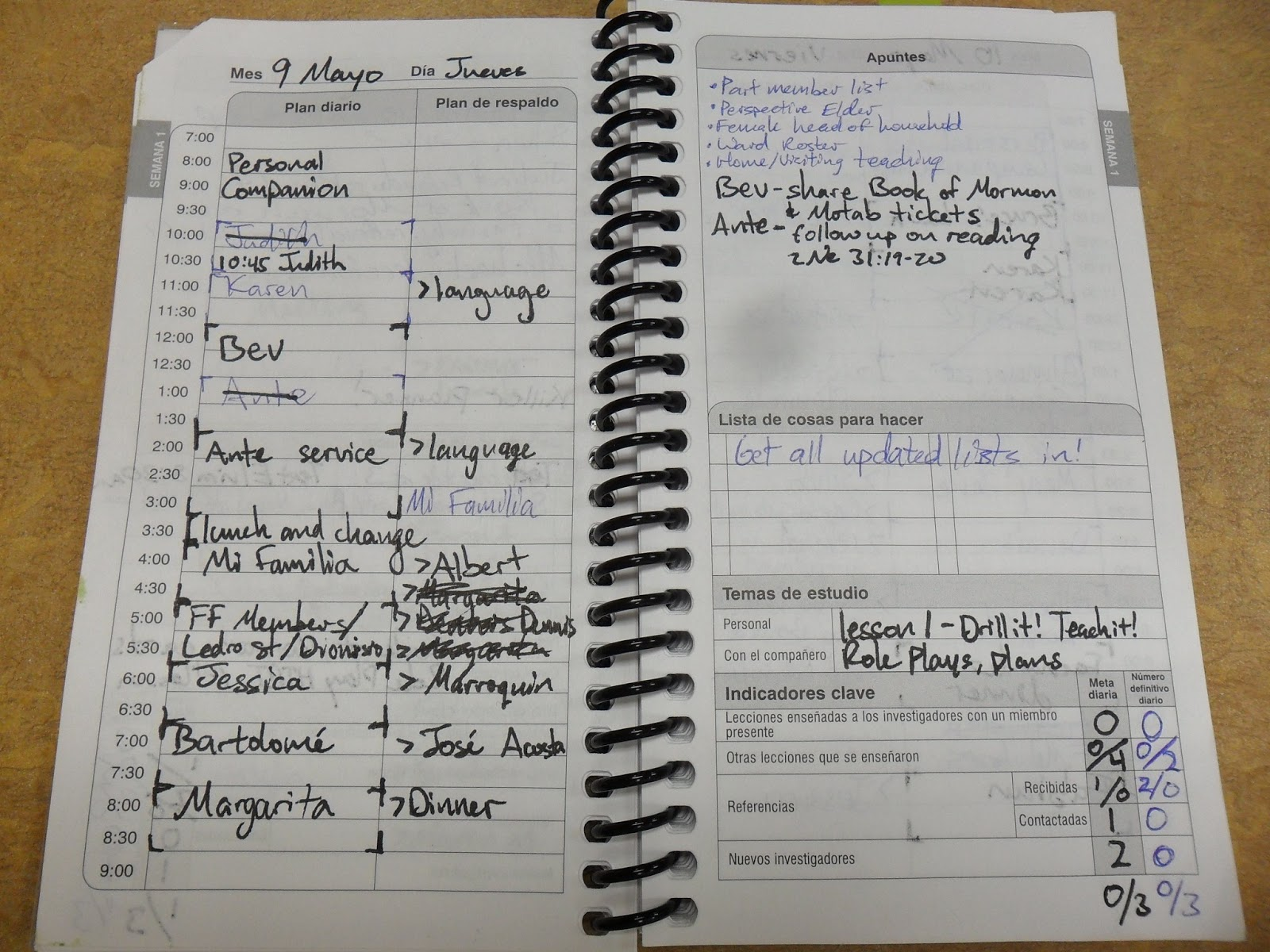 LDS missionary daily planner that is filled out