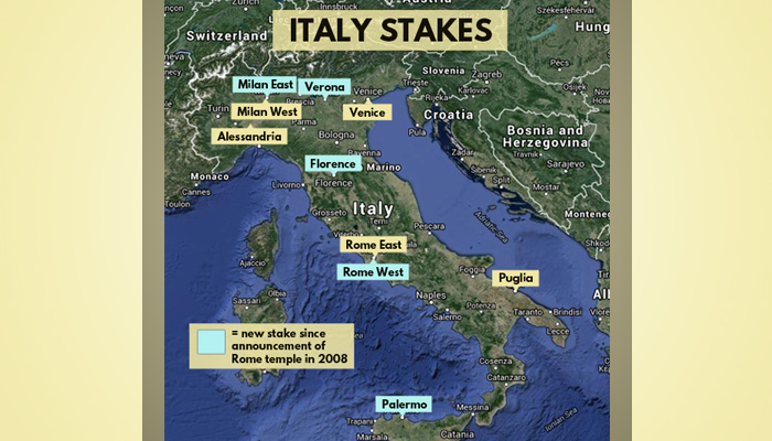 Map of LDS Italy Stakes
