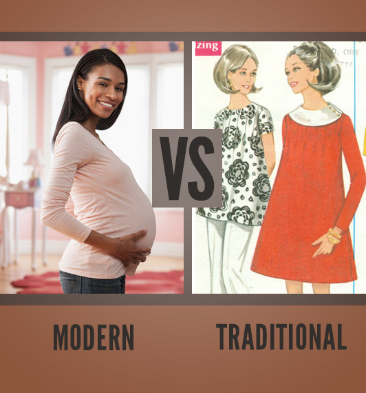 infographic of comparison between modern pregnancy clothing with that of traditional clothing