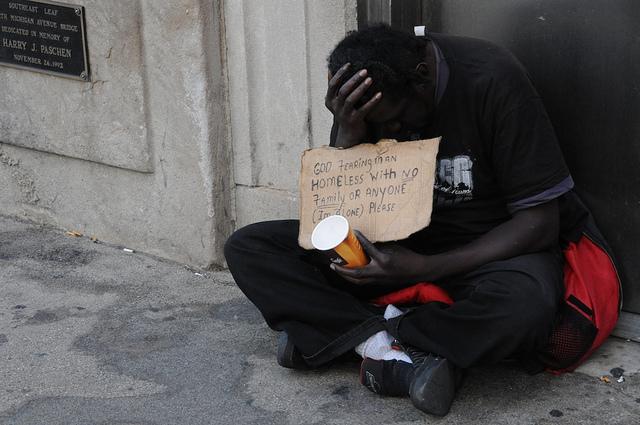 Panhandler asking for money