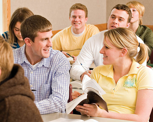 LDS seminary students studying Doctrine and Covenants