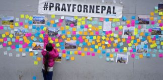Pray for Nepal and sticky notes