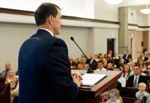 A man delivers a sacrament meeting talk-mormon