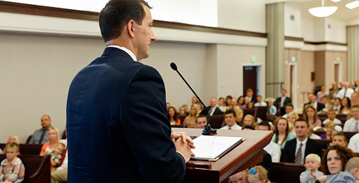 A man delivers a sacrament meeting talk