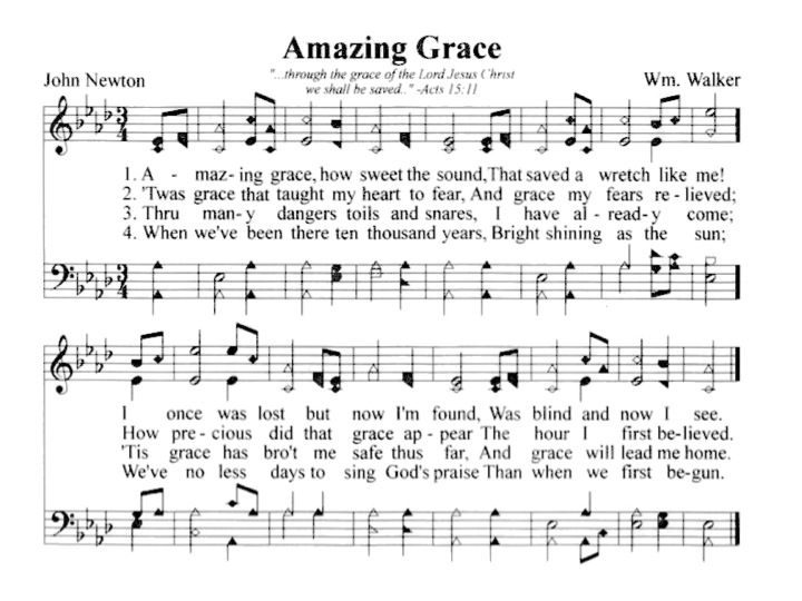 the music and words for the song amazing grace