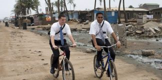 Mormon Missionaries on bikes 1