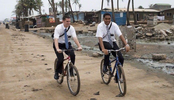 Mormon Missionaries on bikes 1