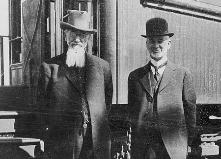 Charles Nibley, founder of the Oregon Sugar Company, poses with Joseph F. Smith