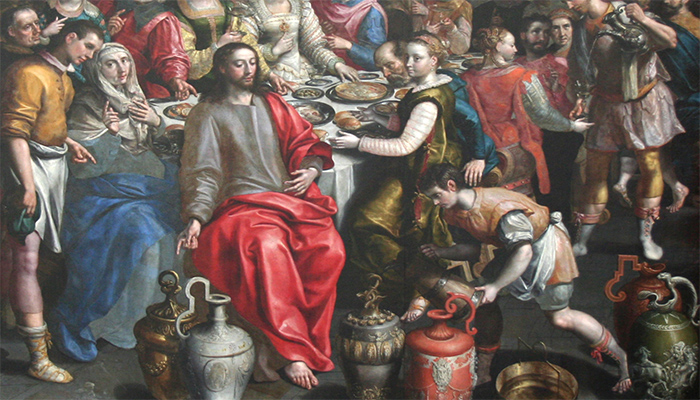 Depiction of Jesus Christ feasting at the marriage of Cana