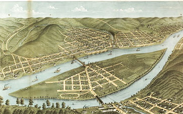 Painting of Wheeling, West Virginia at about the time Joseph Smith visited