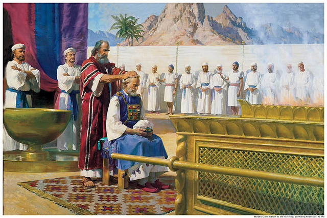 Artistic depiction of Moses anointing Aaron