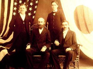 From left, Horace S. Ensign, Heber J. Grant, Alma O. Taylor and Louis A. Kelsch. Image via BYU.