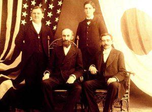 Desde la izquierda, Horace S. Ensign, Heber J. Grant, Alma O. Taylor y Louis A. Kelsch.  Imagen a través de BYU.