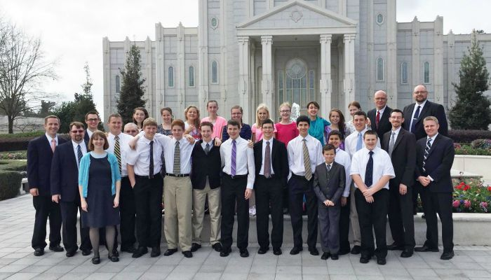 LDS youth in front of LDS temple