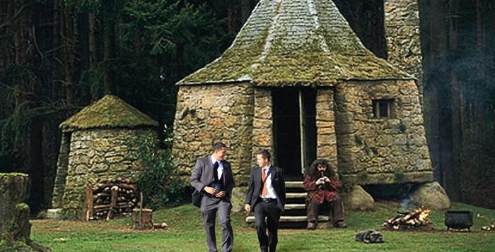 LDS missionaries at Hagrid's Hut
