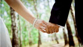 wedding day hand holding