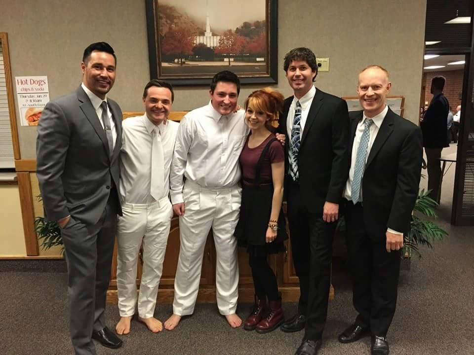 Lindsey Stirling and the Piano Guys pose at Matt Janovsky's baptism