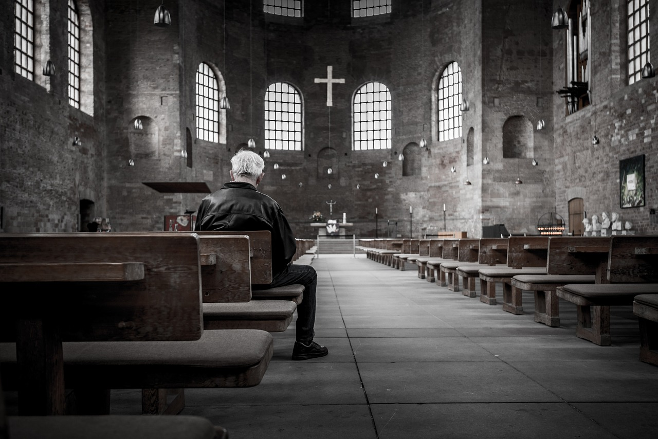 A man in a chapel