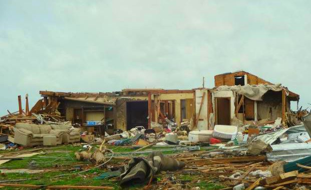 A house hit by a tornado in Oklahoma
