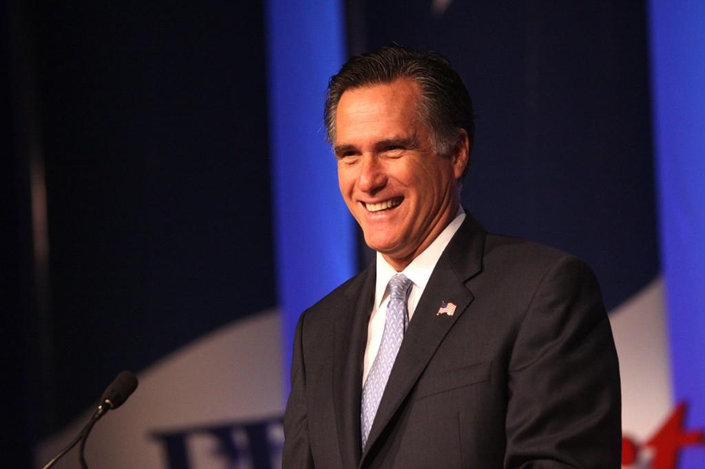 """""""Mitt Romney speaking"""" Photo Credit, Gage Skidmore."""