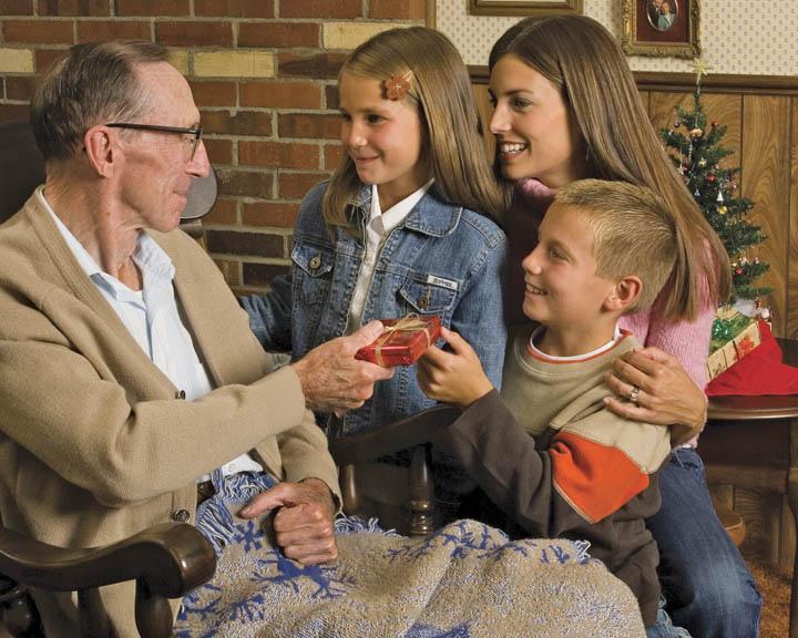 giving elderly man a gift