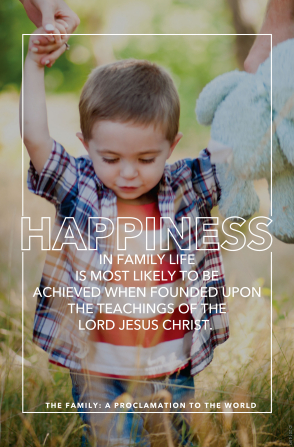 Quote about happiness for a family is founded upon Christ's teachings