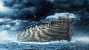 Noah's Ark sailing in isolation.