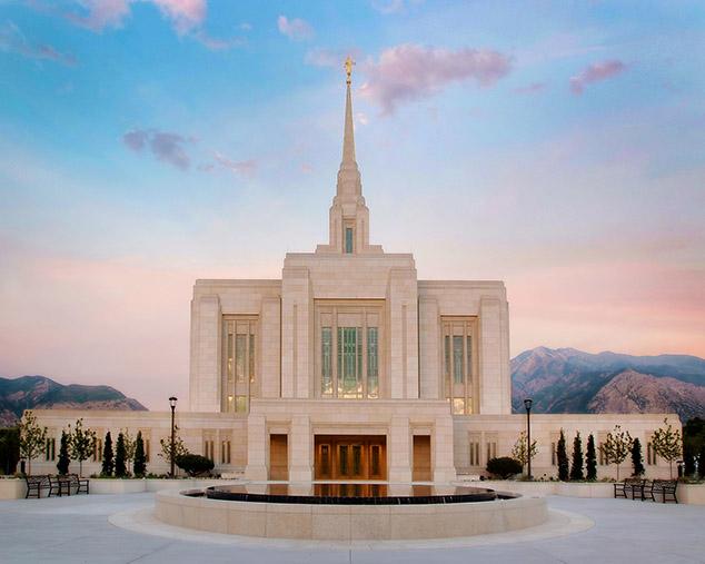 Odgen Utah Temple at dusk.