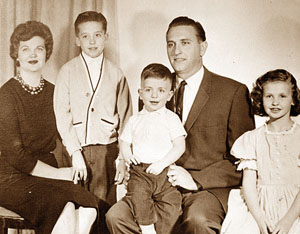 President Thomas S Monson, his wife Frances and their three children: Thomas Lee, Clark Spencer and Ann Frances Monson in 1963. Photo by Deseret News Archive