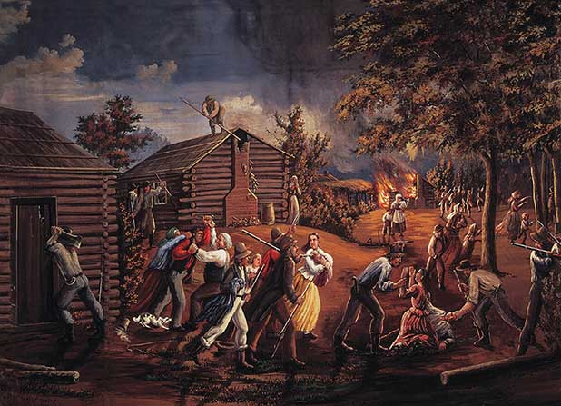 Latter-day Saints being driven from their homes in Jackson County, Missouri
